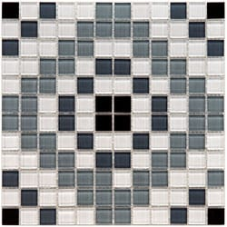 SomerTile 12x12-in View Medallion 1-in Monochrome Glass Mosaic Tile (Case of 20)