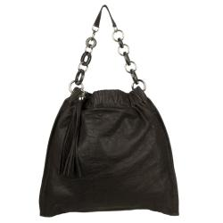 Heceve Leather Brown Tassel Hobo Bag