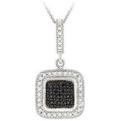 DB Designs Sterling Silver 1/5ct TDW Black Diamond Square Necklace