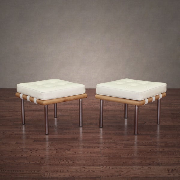 Andalucia Modern White Leather Ottoman (Set of 2)