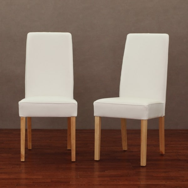 Modern white leather dining chair set of 2 13358769 shopping great deals - Modern leather dining room chairs ...