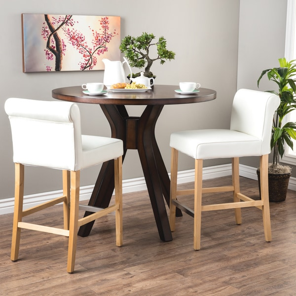 Cosmopolitan Modern White Leather Counter Stools Set Of 2