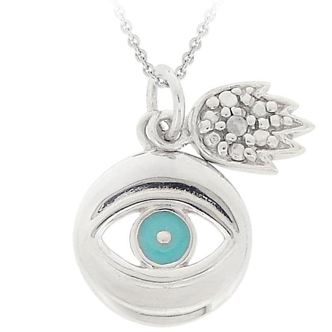 DB Designs Sterling Silver and Teal Enamel Diamond Accent Hamsa Evil Eye Necklace