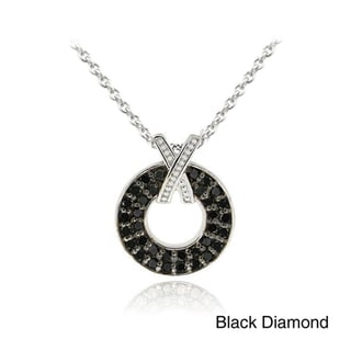 DB Designs Sterling Silver 1/4ct TDW Black Diamond 'X' and 'O' Necklace
