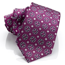 H. Luzzario & Co Men's Silk Purple Floral Tie