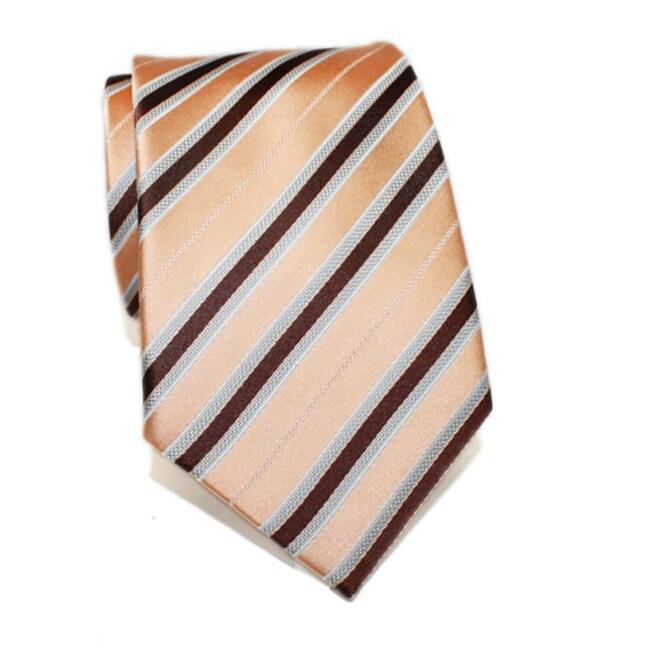 H. Luzzario & Co Men's Silk Orange Striped Tie