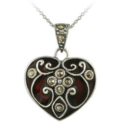 Glitzy Rocks Sterling Silver Marcasite and Red Enamel Heart Necklace