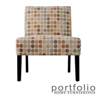 Portfolio Niles Beige Retro Dot Armless Chair