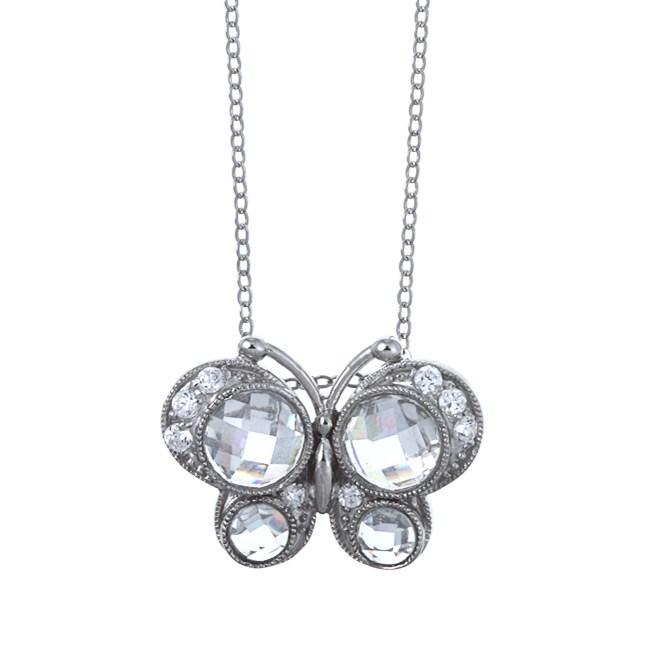 La Preciosa Sterling Silver Clear Cubic Zirconia Butterfly Necklace