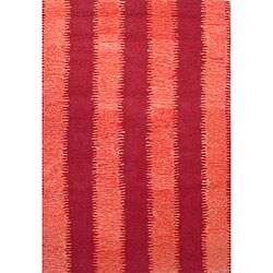 Hand-tufted Zigzag Orange/ Red Wool Rug (8' x 11')