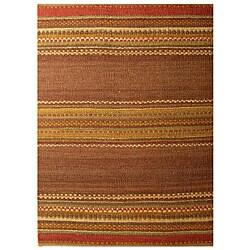 Handwoven Mohawk Brown Stripe Pattern Jute Rug (6' x 9')