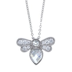 La Preciosa Sterling Silver Clear Cubic Zirconia Bee Necklace