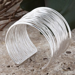 Silverplated Brass Wire Cuff Bracelet (India)