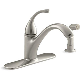 Kohler K-10412-BN Vibrant Brushed Nickel Forte Single-Control Kitchen Sink Faucet With Escutcheon, Sidespray And Lever Handle