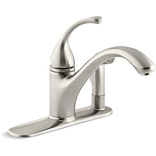 Kohler K-10413-BN Vibrant Brushed Nickel Forte Single-Control Kitchen Sink Faucet With Sidespray In Escutcheon And Lever Handle