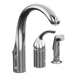 Kohler K-10430-CP Polished Chrome Forte Single-Control Remote Valve Kitchen Sink Faucet With Sidespray And Lever Handle