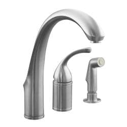 Kohler K-10430-G Brushed Chrome Forte Single-Control Remote Valve Kitchen Sink Faucet With Sidespray And Lever Handle