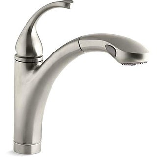 Kohler K-10433-BN Vibrant Brushed Nickel Forte Single-Control Pullout Kitchen Sink Faucet With Color-Matched Sprayhead And Lever