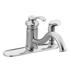 Kohler K-12173-CP Polished Chrome Fairfax Single-Control Kitchen Sink Faucet With Sidespray In Escutcheon