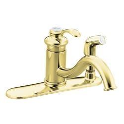 Kohler K-12173-PB Vibrant Polished Brass Fairfax Single-Control Kitchen Sink Faucet With Sidespray In Escutcheon