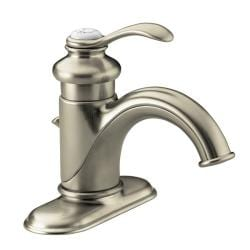 Kohler K-12181-BN Vibrant Brushed Nickel Fairfax Single-Control Lavatory Faucet With Lever Handle And Pop-Up Drain