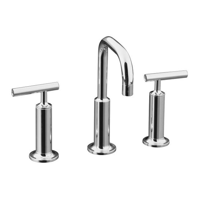 chrome purist widespread lavatory faucet with low gooseneck spout and