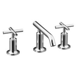 Kohler K-14410-3-CP Polished Chrome Purist Widespread Lavatory Faucet With Low Spout And Low Cross Handles