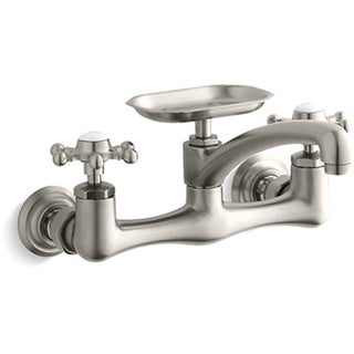 "Kohler K-149-3-BN Vibrant Brushed Nickel Antique Wall-Mount Sink Faucet With Six-Prong Handles And 8"" Swing Spout"