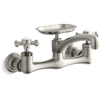 """Kohler K-149-3-BN Vibrant Brushed Nickel Antique Wall-Mount Sink Faucet With Six-Prong Handles And 8"""" Swing Spout"""