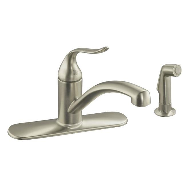 ... Kitchen Sink Faucet With Escutcheon, Matching Finish Sidespray And
