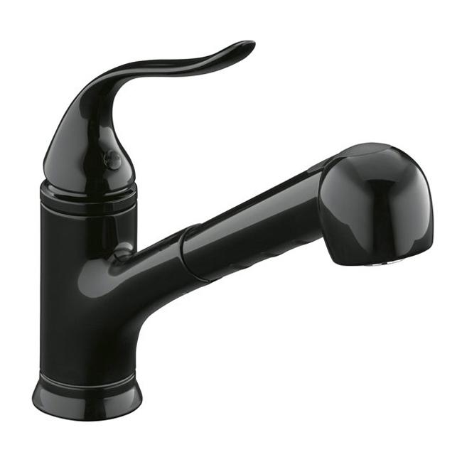 Kohler K-15160-7 Black Coralais Single-Control Pullout Spray Kitchen Sink Faucet With Color-Matched Sprayhead And Lever Handle
