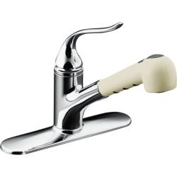 Kohler K-15160-AP-CP Polished Chrome Coralais Single-Control Pullout Spray Kitchen Sink Faucet With Color-Matched Sprayhead And