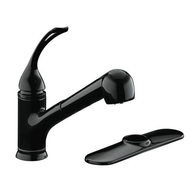 Kohler K-15160-L-7 Black Coralais Single-Control Pullout Spray Kitchen Sink Faucet With Color-Matched Sprayhead And Loop Handle