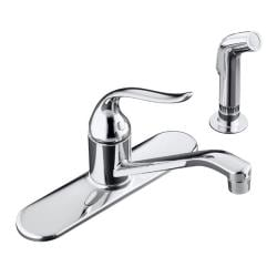 """Kohler K-15172-F-CP Polished Chrome Coralais Single-Control Kitchen Sink Faucet With 8-1/2"""" Spout, Color-Matched Sprayhead And L"""
