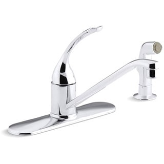 "Kohler K-15172-TL-CP Polished Chrome Coralais Single-Control Kitchen Sink Faucet With 10"" Spout, Color-Matched Sidespray, Ground"