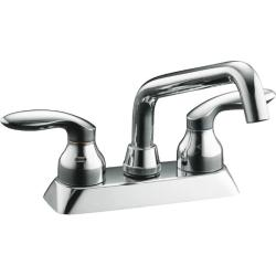 Kohler K-15270-4-CP Polished Chrome Coralais Laundry Sink Faucet With Plain End Spout And Lever Handles