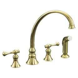 "Kohler K-16109-4A-PB Vibrant Polished Brass Revival Kitchen Sink Faucet With 9-3/16"" Spout, Sidespray And Traditional Lever Hand"