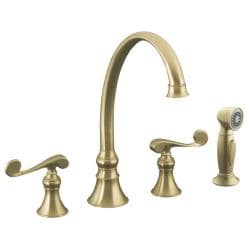 "Kohler K-16109-4-BV Vibrant Brushed Bronze Revival Kitchen Sink Faucet With 9-3/16"" Spout, Sidespray And Scroll Lever Handles"