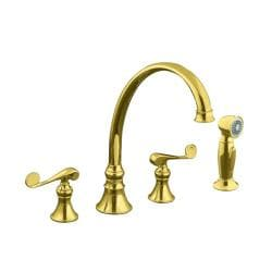 "Kohler K-16109-4-PB Vibrant Polished Brass Revival Kitchen Sink Faucet With 9-3/16"" Spout, Sidespray And Scroll Lever Handles"