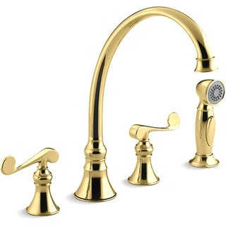 """Kohler K-16109-4-PB Vibrant Polished Brass Revival Kitchen Sink Faucet With 9-3/16"""" Spout, Sidespray And Scroll Lever Handles"""