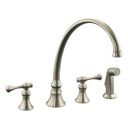 "Kohler K-16111-4A-BN Vibrant Brushed Nickel Revival Kitchen Sink Faucet With 11-13/16"" Spout, Sidespray And Traditional Lever Ha"