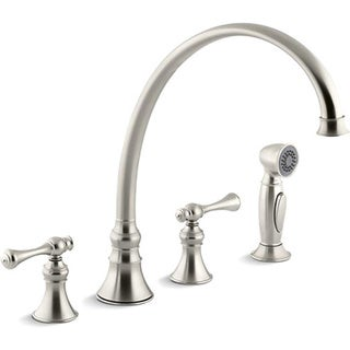"""Kohler K-16111-4A-BN Vibrant Brushed Nickel Revival Kitchen Sink Faucet With 11-13/16"""" Spout, Sidespray And Traditional Lever Ha"""