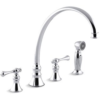 """Kohler K-16111-4A-CP Polished Chrome Revival Kitchen Sink Faucet With 11-13/16"""" Spout, Sidespray And Traditional Lever Handles"""
