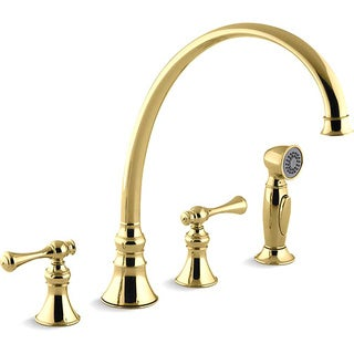 """Kohler K-16111-4A-PB Vibrant Polished Brass Revival Kitchen Sink Faucet With 11-13/16"""" Spout, Sidespray And Traditional Lever Ha"""