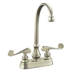Kohler K-16112-4-BN Vibrant Brushed Nickel Revival Entertainment Sink Faucet With Scroll Lever Handles