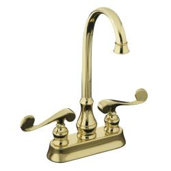 Kohler K-16112-4-PB Vibrant Polished Brass Revival Entertainment Sink Faucet With Scroll Lever Handles