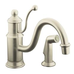 Kohler K-169-BN Vibrant Brushed Nickel Antique Single-Control Kitchen Sink Faucet With Color-Matched Sidespray
