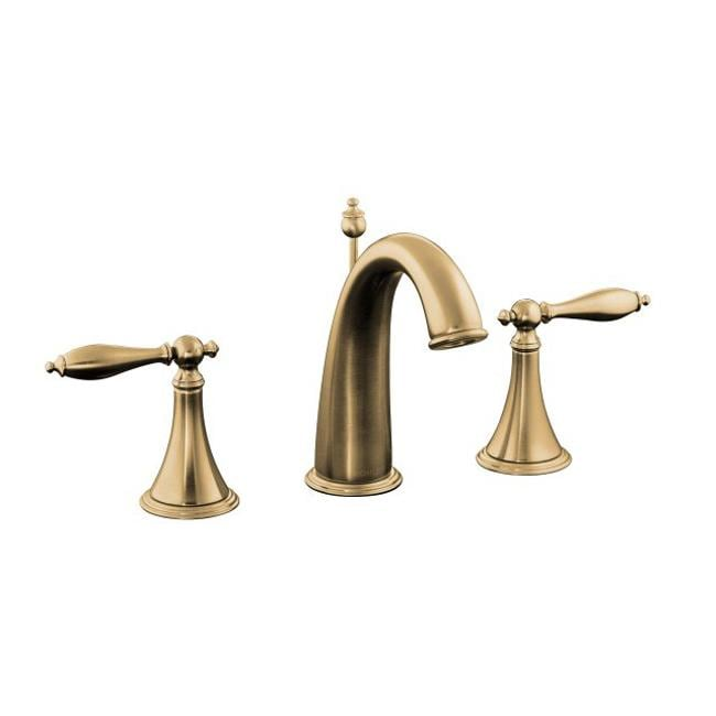 ... Gold Finial Traditional Widespread Lavatory Faucet With Lever Handles