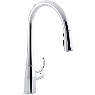 Kohler K-596-CP Polished Chrome Simplice Single-Hole Pull-Down Kitchen Faucet