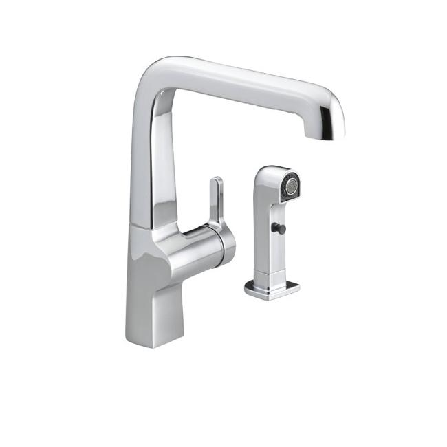 Kohler K-6334-CP Polished Chrome Evoke Single Control Kitchen Sink Faucet With Sidespray